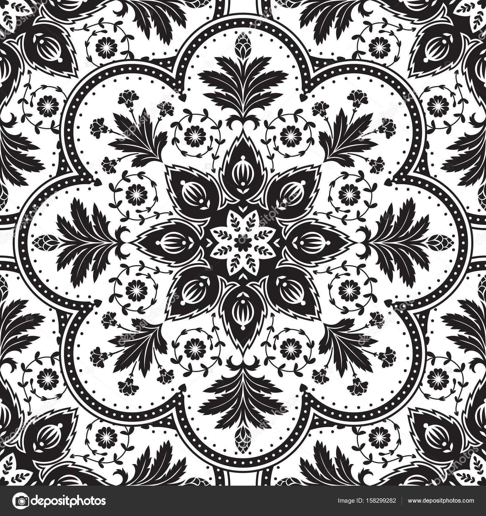 Vintage Viktorianischen Muster Elegante Nahtlose Muster Schwarz Weiß