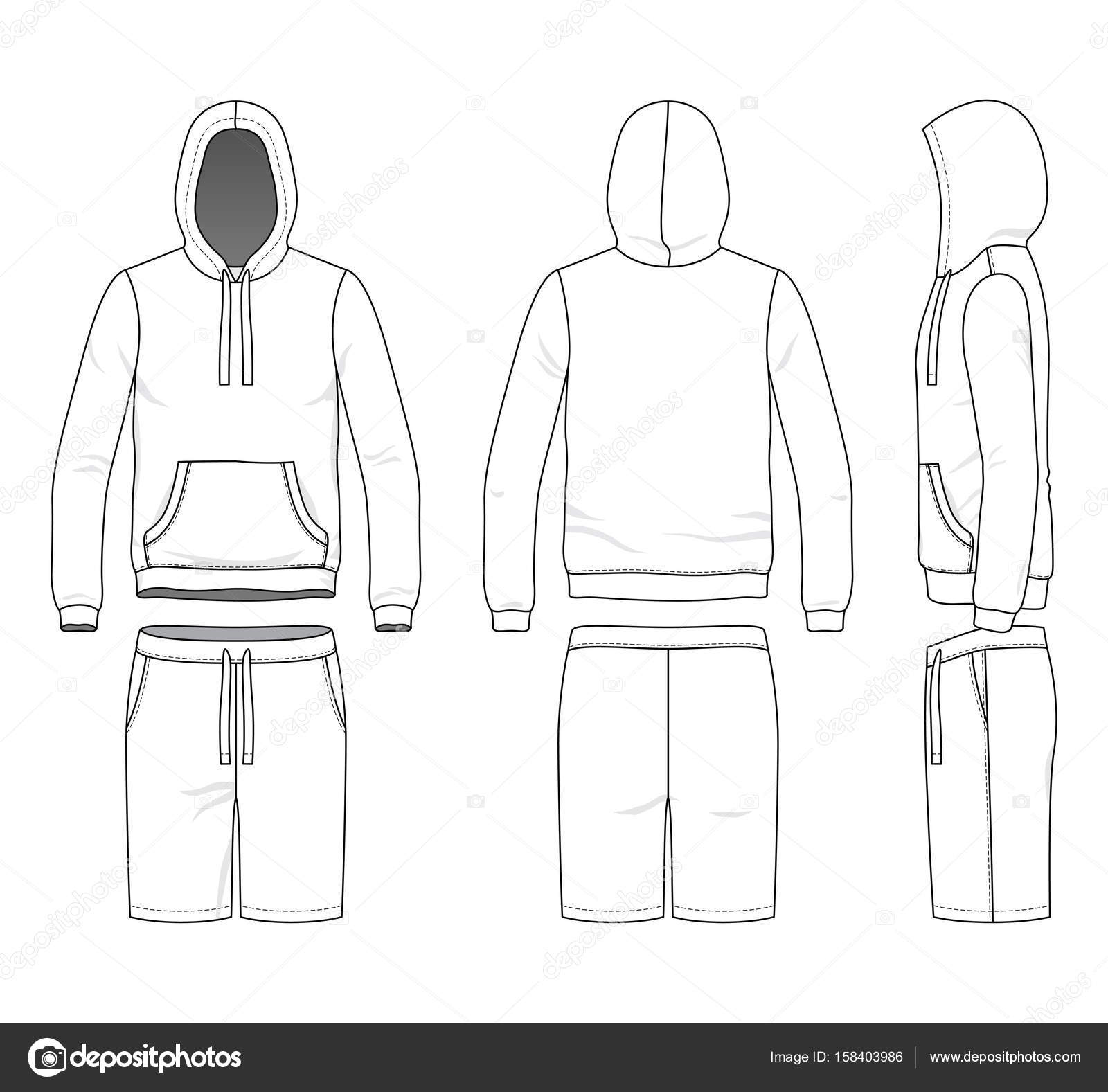 Leere Kleidung Vorlagen Vektor Illustration Sweatshirt Und Shorts ...