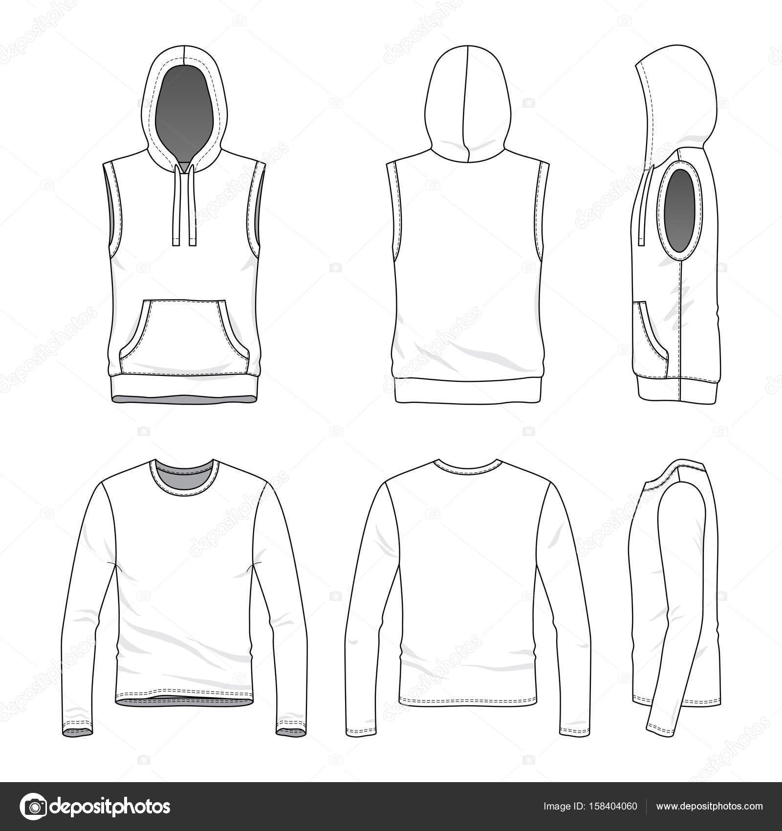 blank clothing templates vector illustration sleeveless hoody tee