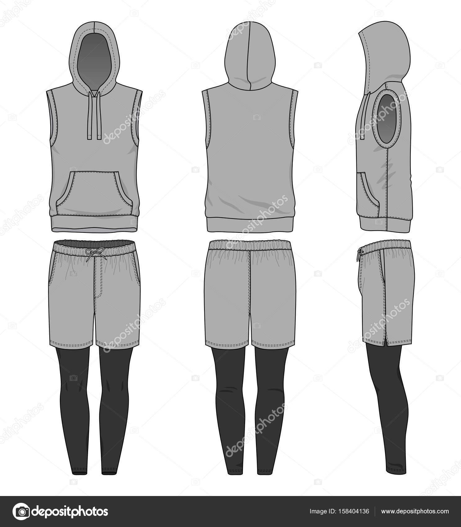 blank clothing templates vector illustration sleeveless hoody shorts jogging pants stock vector
