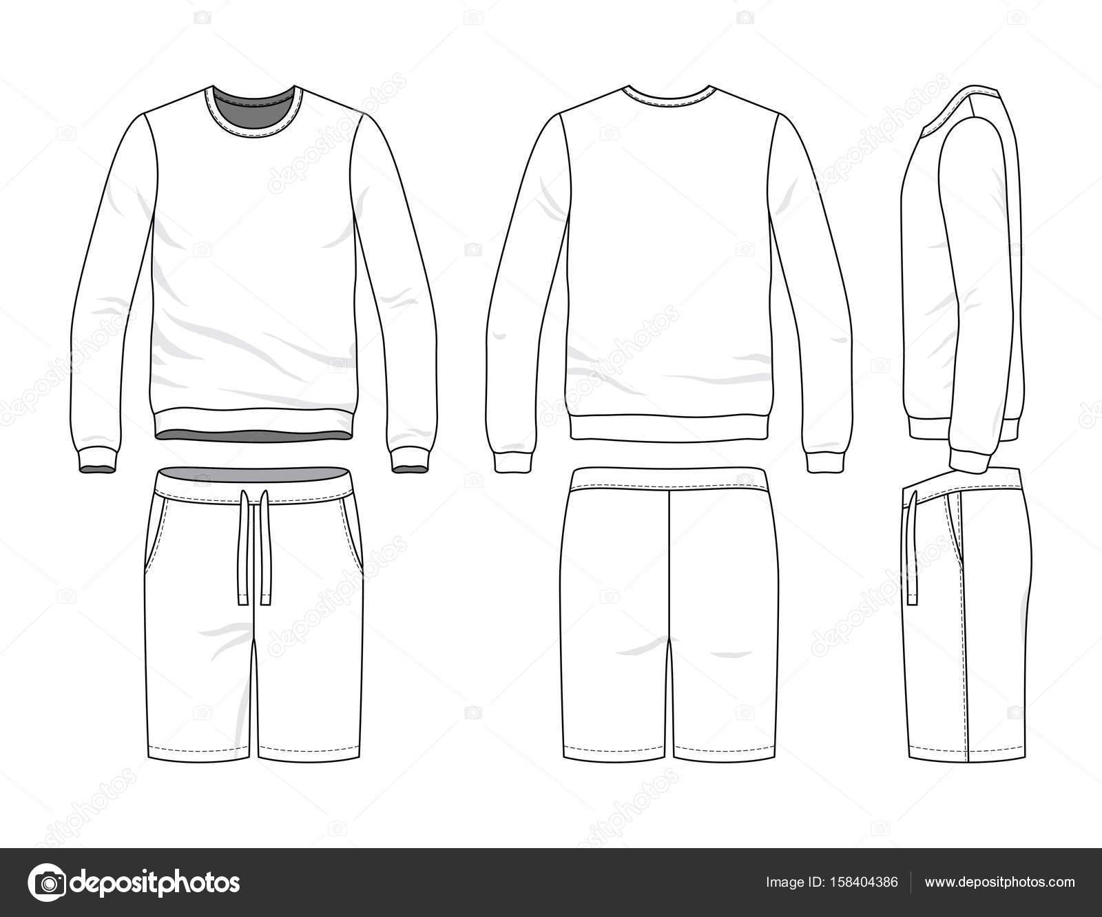 blank clothing templates vector illustration sweatshirt shorts