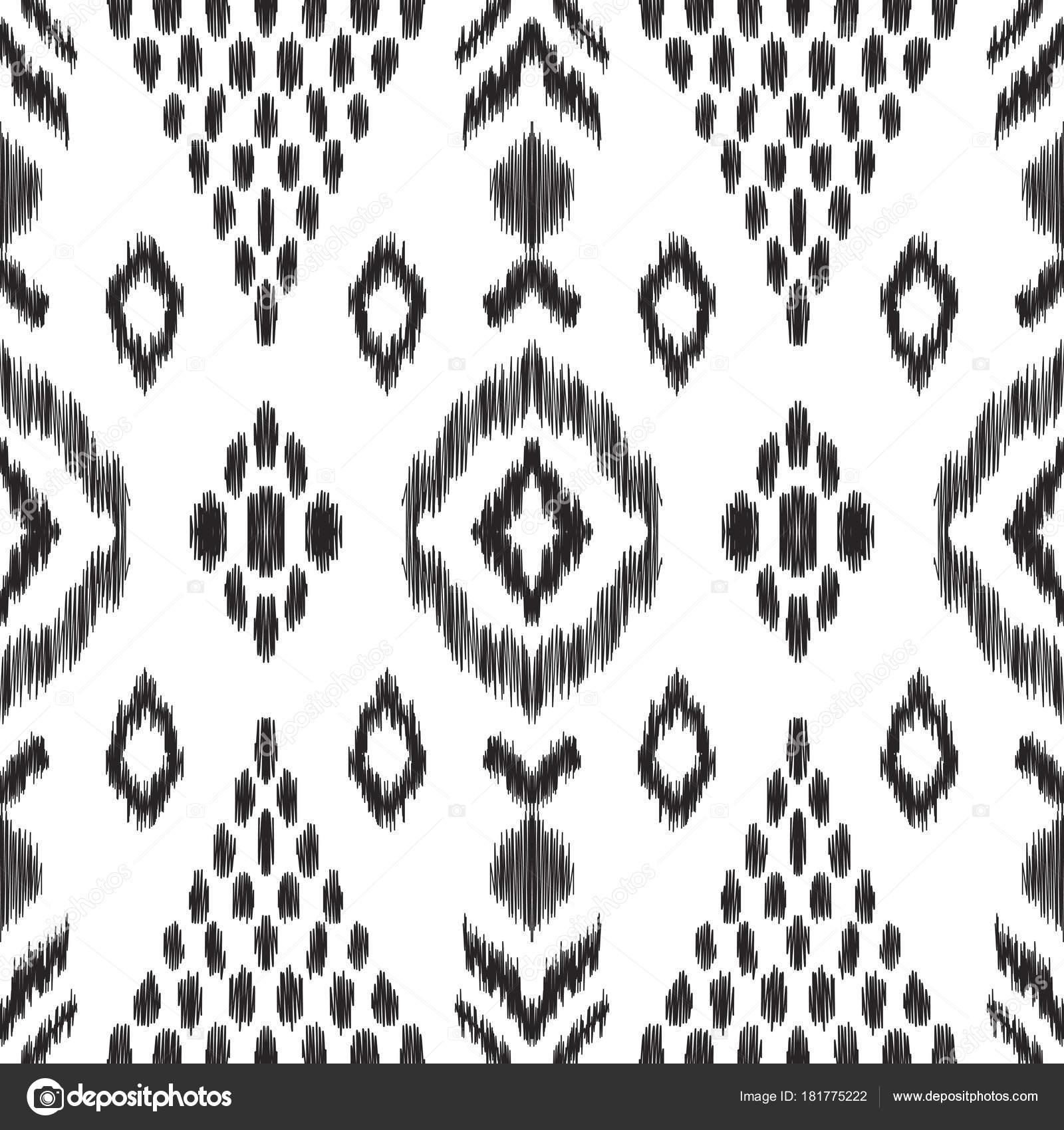 Fantastisch Vektor Illustration Von Schwarzen Und Weißen Ikat Musterdesign Design Ethno  U2014 Stockvektor