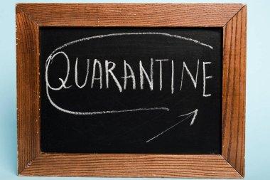 Quarantine lettering written on chalkboard on blue background, coronavirus concept stock vector