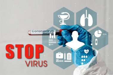 cropped view of person in latex glove holding coronavirus blood sample, stop virus illustration