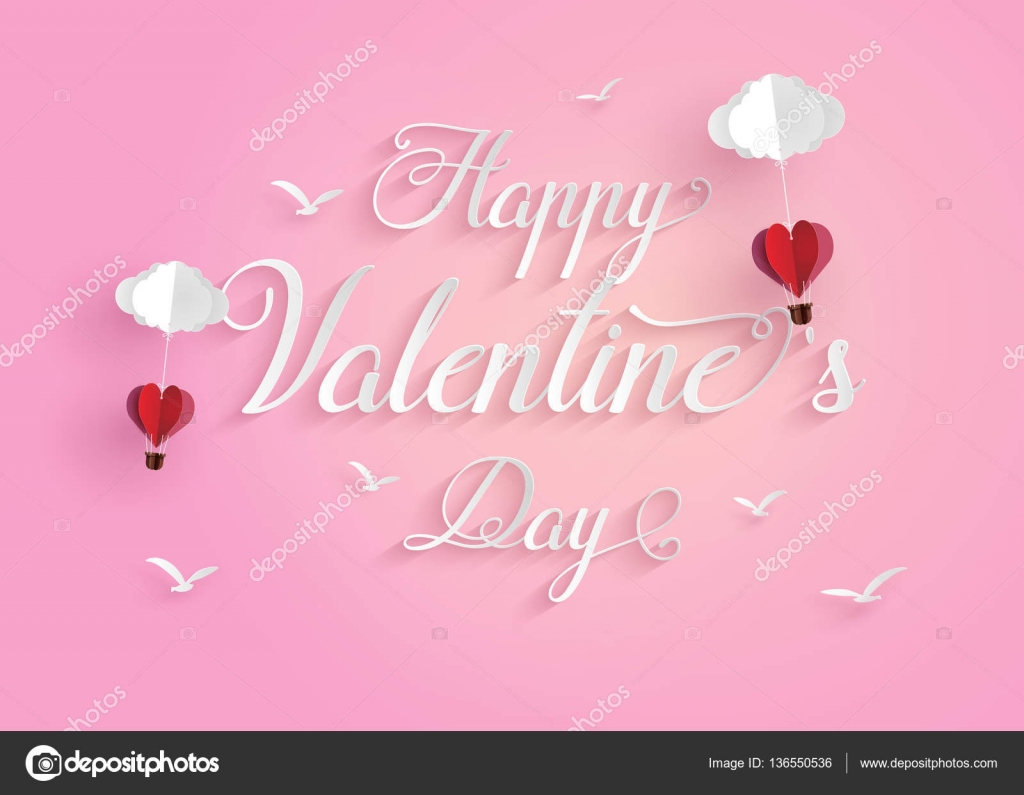 Origami made hot air balloon in a heart shape stock vector concept of happy valentine daymessage floating in the air with origami made hot air balloon in a heart shape paper art and craft style jeuxipadfo Choice Image