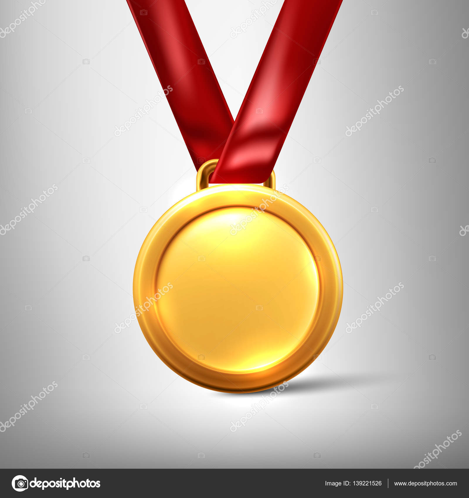 Gold medal isolated on a grey background Vector illustration