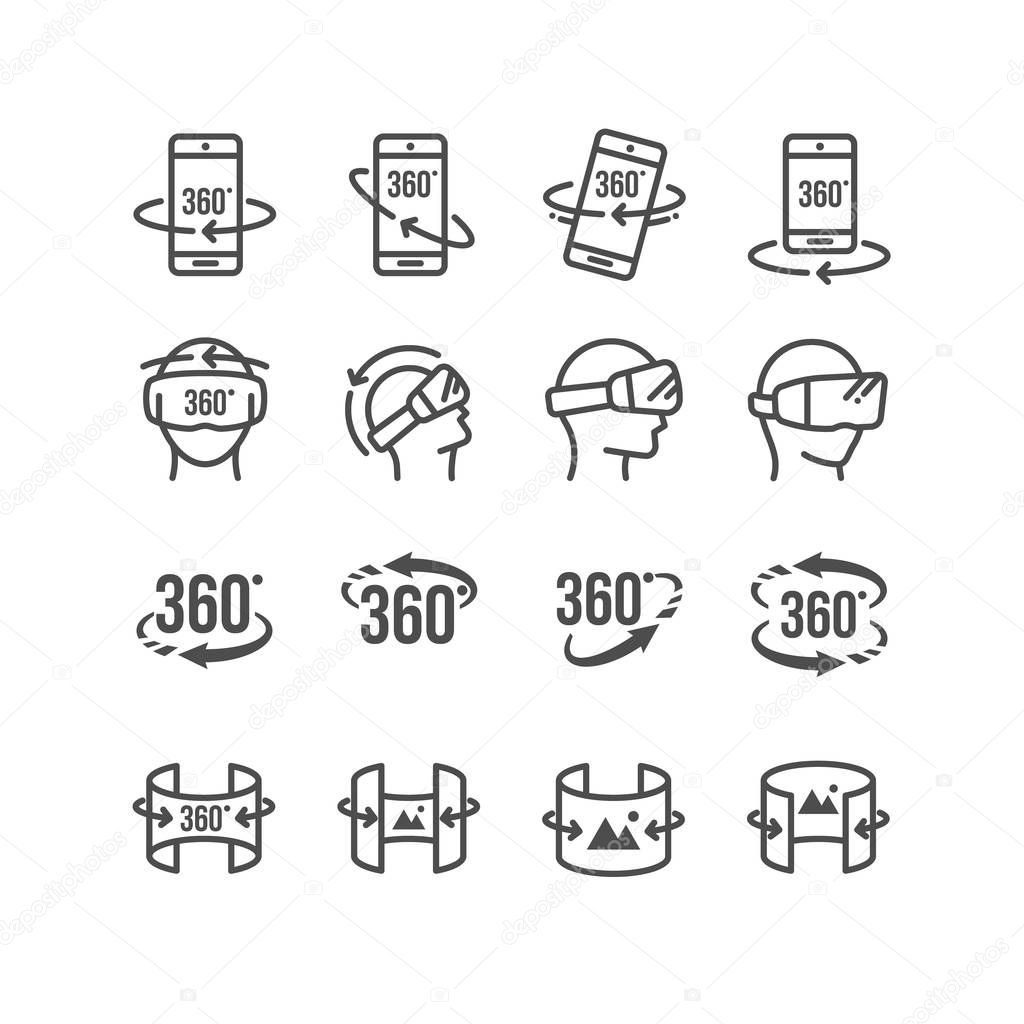 Set of  Virtual Reality Related 360 Degree Image and Video Icons