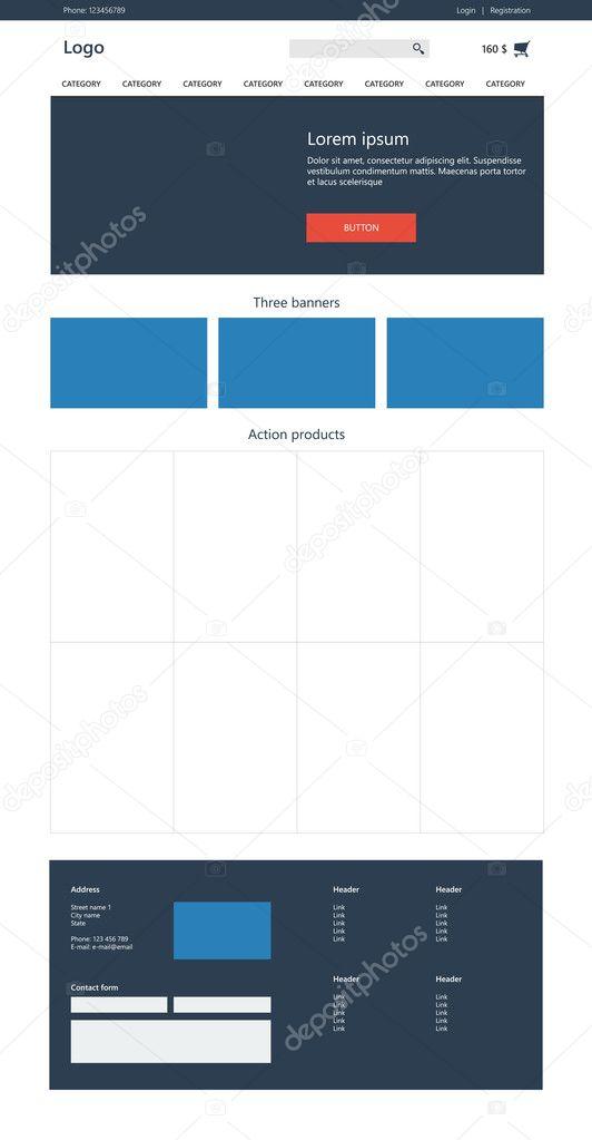 Templates Online | E Commerce Website Templates Online Shop Flaches Design