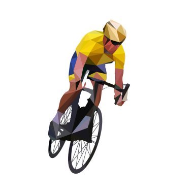 Cycling. Abstract geometrical vector road cyclist in yellow jers