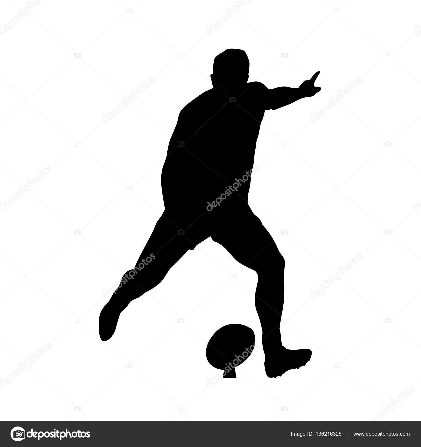 joueur de rugby taper dans ballon silhouette vecteur image vectorielle msanca 136216326. Black Bedroom Furniture Sets. Home Design Ideas