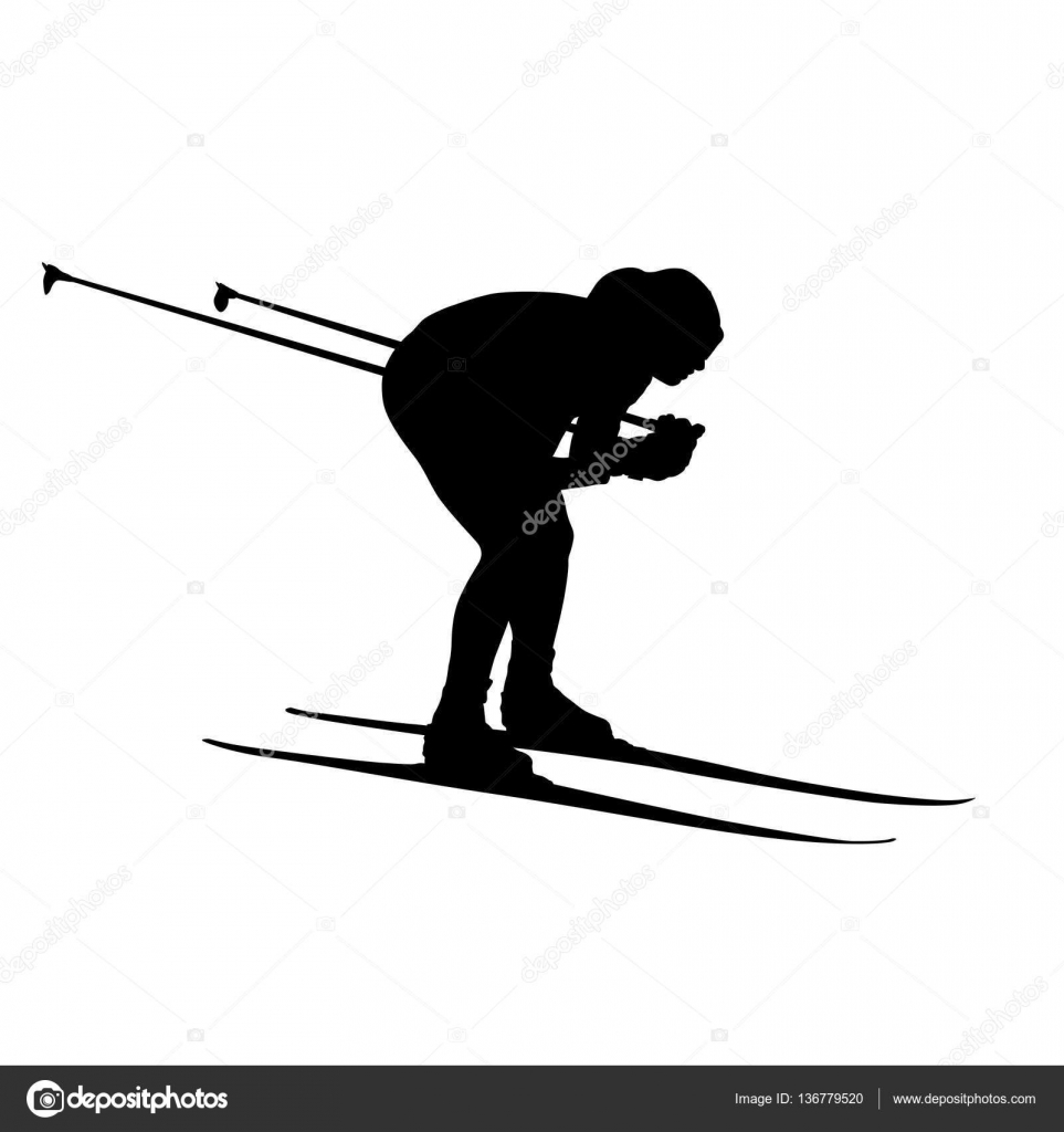 Cross Country Skiing Downhill Vector Silhouette By Msanca