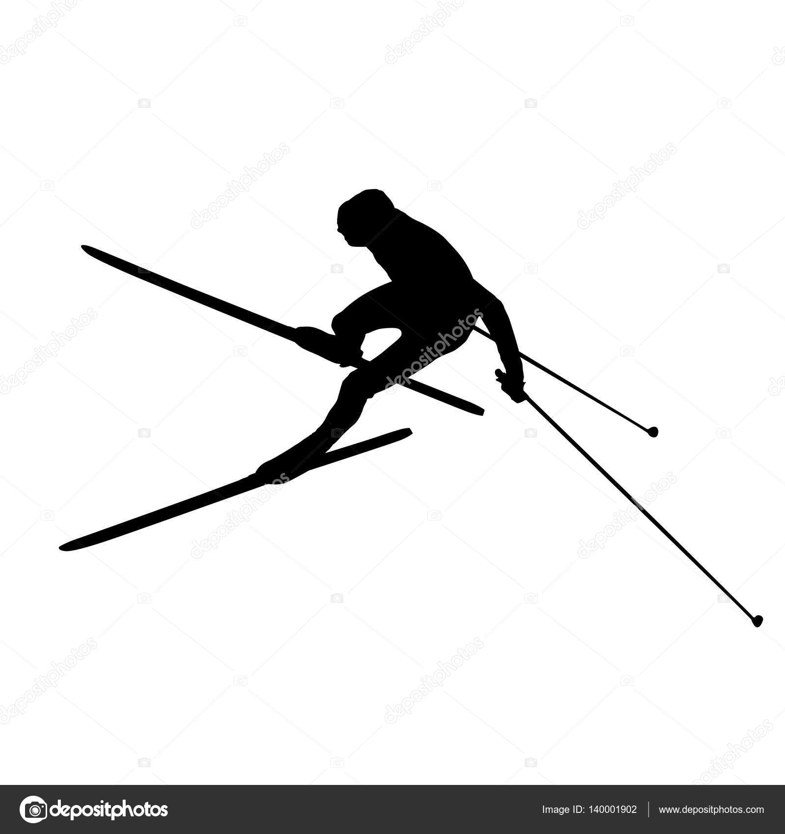 Cross Country Skiing Unusual Aerial View Vector Silhouette By Msanca