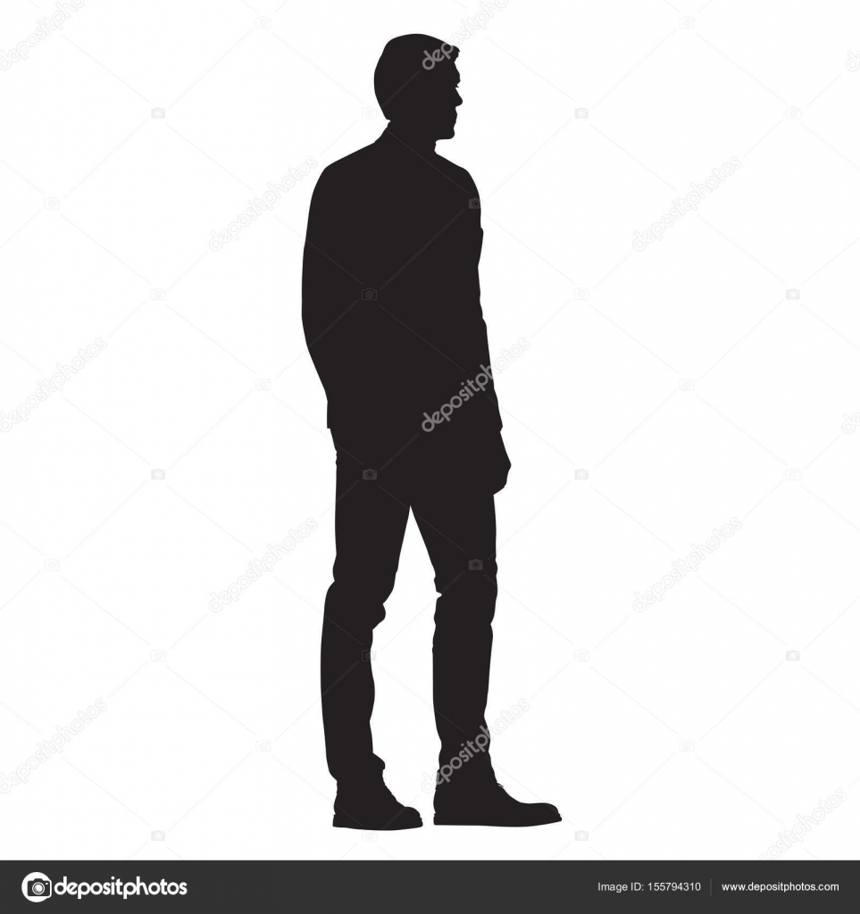 man standing side view isolated vector silhouette