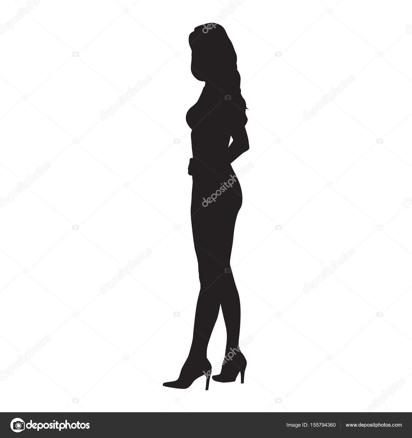 ヒールの靴、セクシーなスリムな女性、vec の横に立っている若い