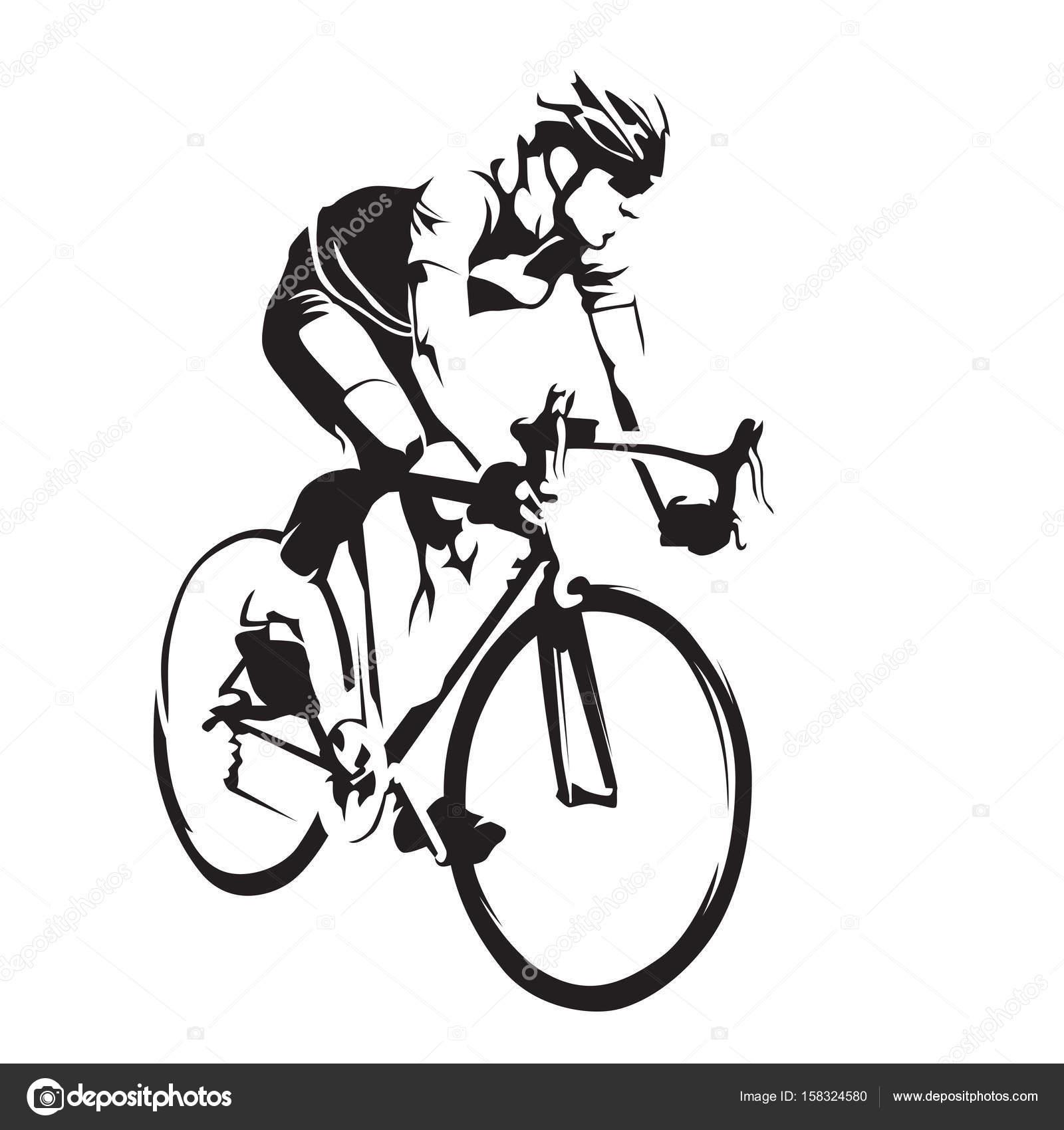 ciclista em sua bicicleta de estrada silhueta de vetor abstrato de