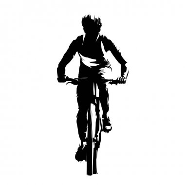 Mountain biker, front view, abstract vector silhouette. Cycling