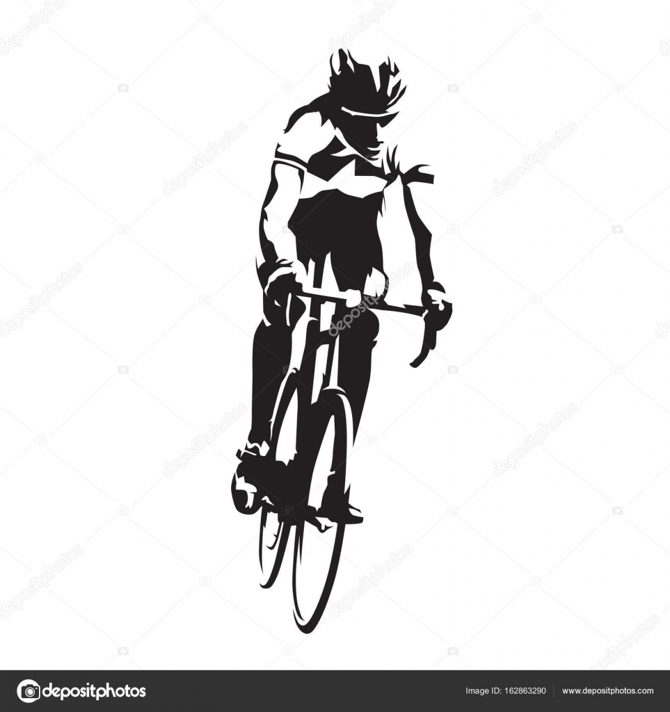 road cyclist on his bike abstract vector silhouette