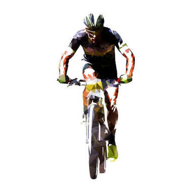 Mountain cycling, abstract geometric cyclist vector illustration