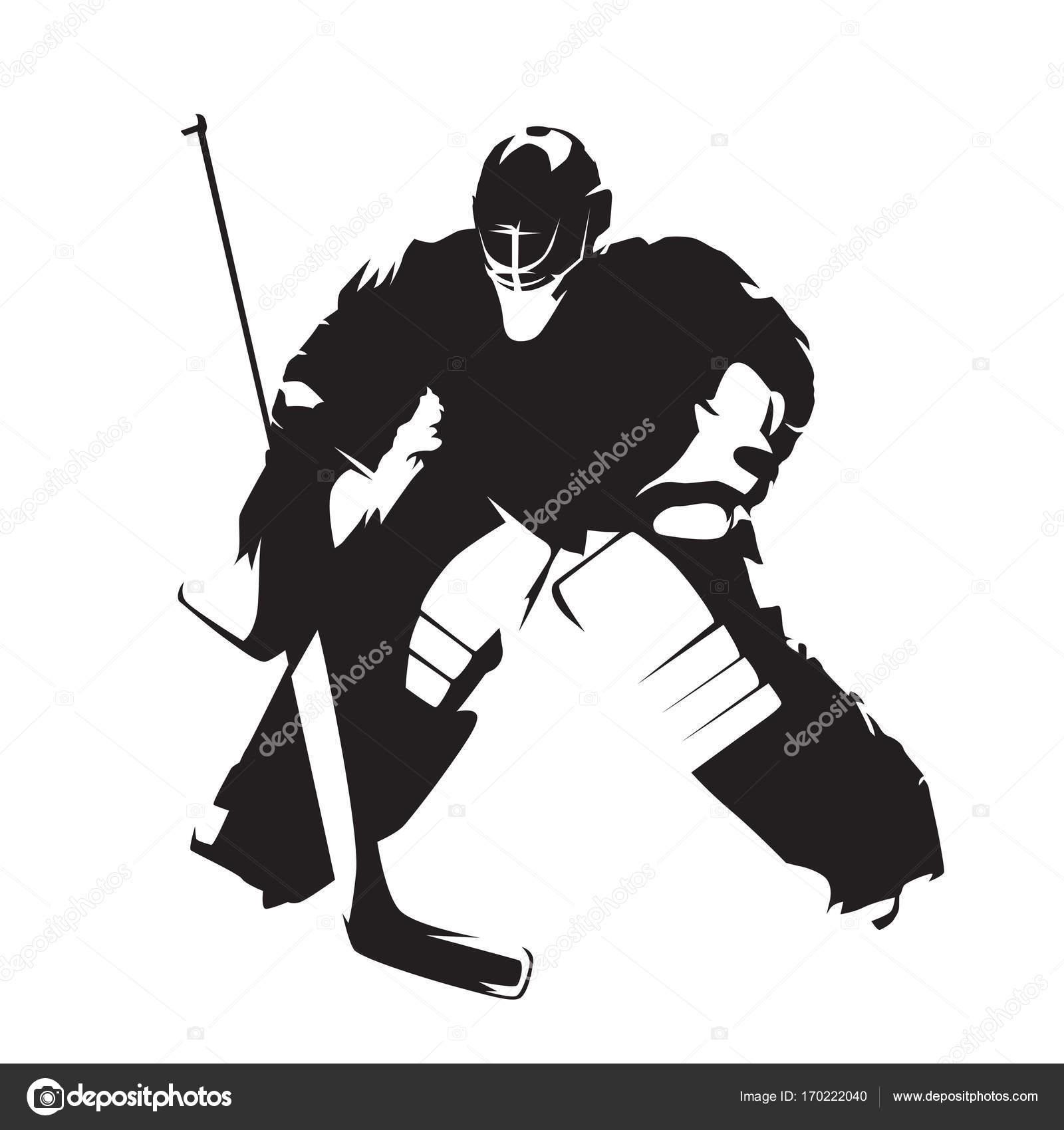Ice Hockey Goalie Abstract Vector Silhouette Stock Vector