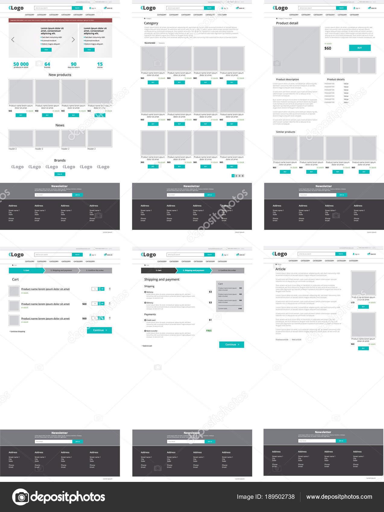 Satz von e-Commerce-Website-Vorlagen. Startseite, Kategorie, Produkt ...