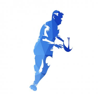 Rugby player running with ball, abstract blue geometric vector s