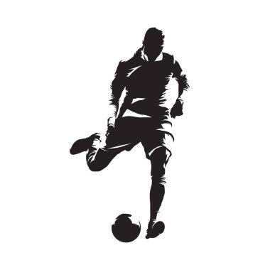 European football player shooting ball, soccer. Isolated vector