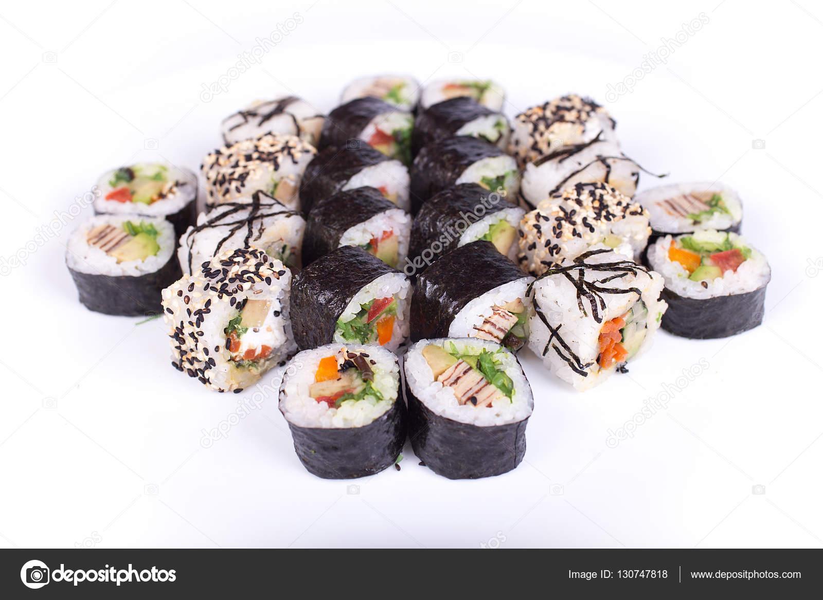 Japanische Küche, Sushi Maki Gunkan Roll Platte oder Teller legen ...