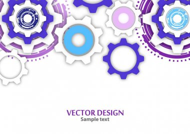 Technological colorful background with cogwheel, gears, cover template. Illustration of abstract design with copy space. Vector illustration