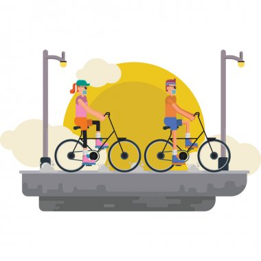 Man and woman are cycling together