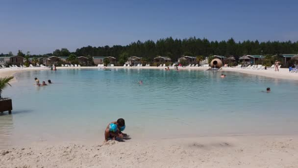 LINXE, FRANCE - SEPTEMBER 12, 2019: Beautiful artificial lagoon in Lila Capfun camping in the South of France