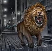 Üres utcában száguldó oroszlán rajza