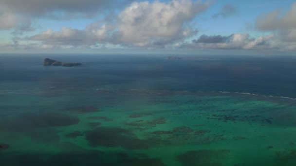 Mauritius island, view from a drone magnificent clouds and the Indian ocean