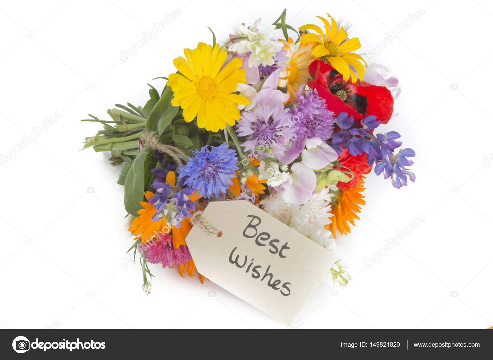 summer flower bouquet\' Best Wishes\' with tag — Stock Photo ...