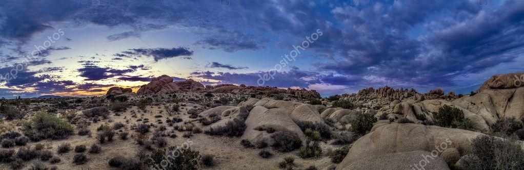 Desert at Sunset Blue Hour or Golden Hour