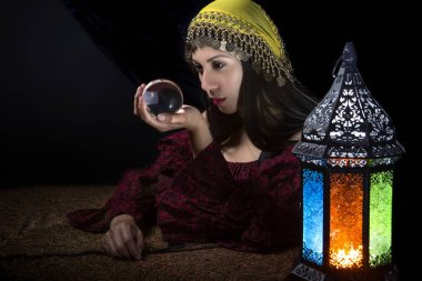 Psychic Looking into Crystal Ball