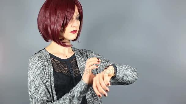 Fashion Model with Digital Smart Watch