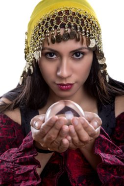 Close up of Psychic Looking at Crystal Ball