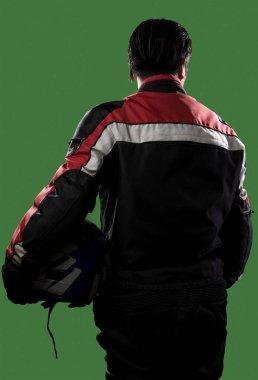 Race Car Driver or Biker on a Green Screen