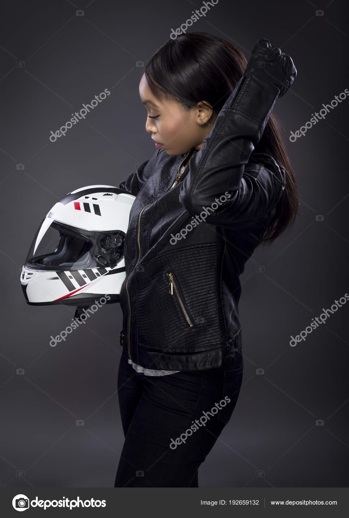 Portant Automobile Course Pilote Femelle Blouson Cuir Motard Noir ITB68X