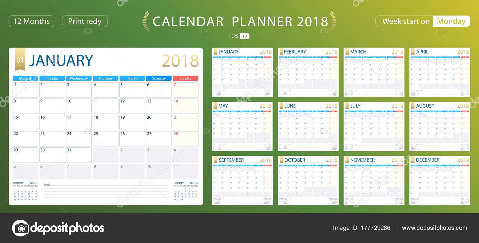 Inglés calendario planificador para el año 2018, comienzo de la ...