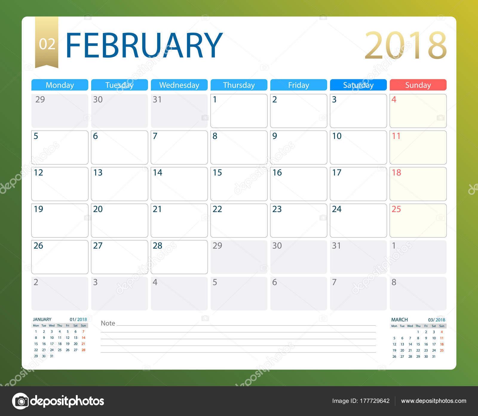 Settimane Calendario.Febbraio 2018 Pianificatore Calendario O Reception Di