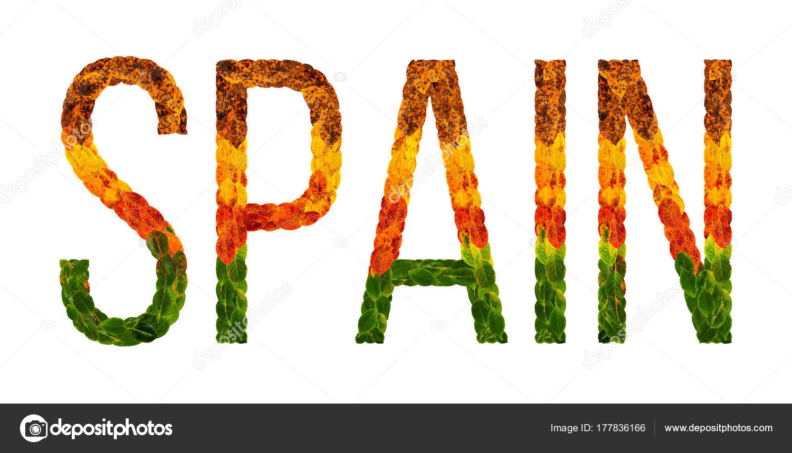 Word Spain Country Is Written With Leaves On A White Insulated
