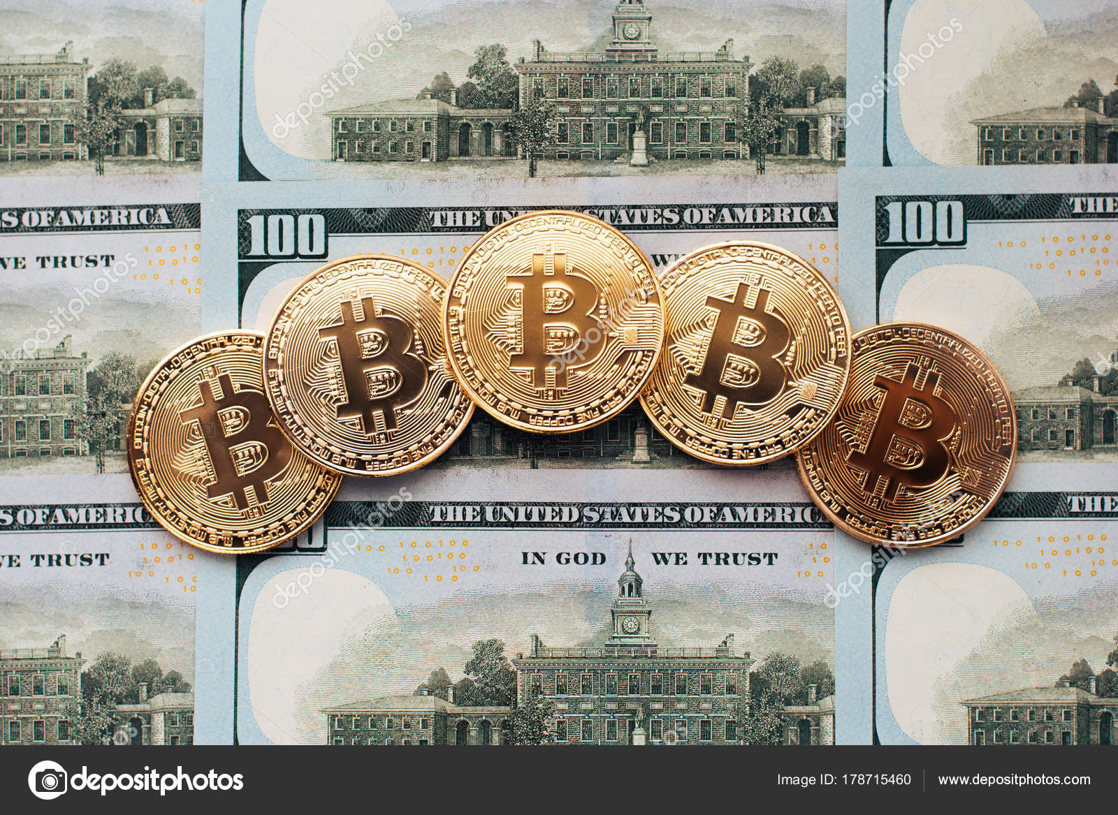 Bitcoin Münzen Gibt Es Geld Auf Tisch Eine Notiz Von 100 Dollar