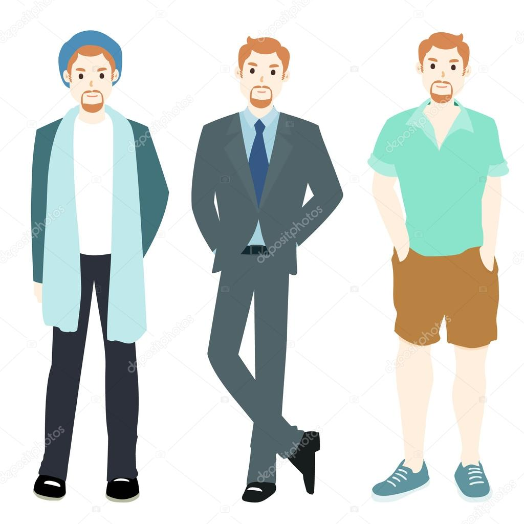 ceb1f3bb9f7 Men in summer winter business style clothing illustration — Vector by ...