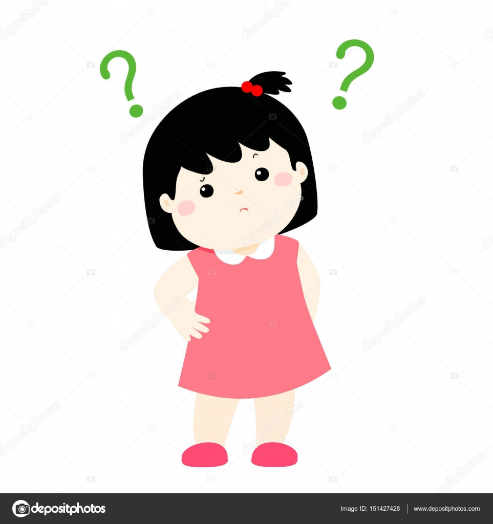 Little Girl Confused Cartoon Character Vector