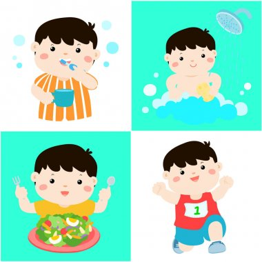 Daily healthy routine for boy cartoon vector