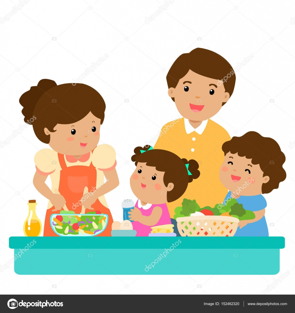 Happy family cook healthy food together cartoon character ...