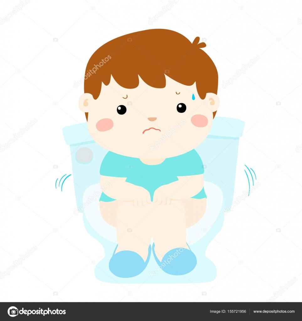 Chico lindo sentarse inodoro con vector de dibujos animados de diarrea vector de stock Imagenes con animacion