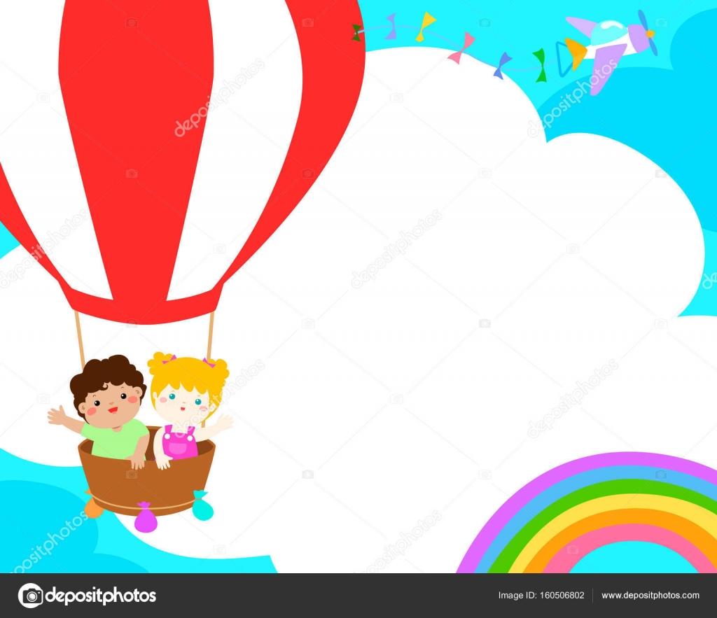 Niños felices plantilla en blanco en el vector de diseño de cartel ...