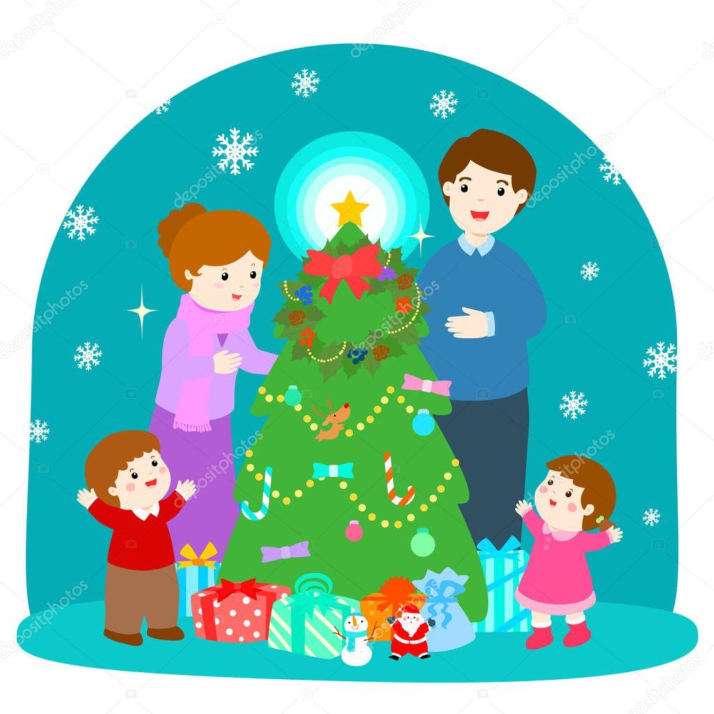 Im genes sobre la navidad en familia ilustraci n de - Imagenes arbol de navidad ...